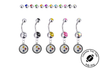 Pittsburgh Steelers Silver Swarovski Belly Button Navel Ring - Customize Gem Colors