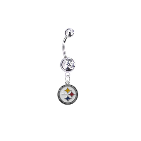 Pittsburgh Steelers Silver Clear Swarovski Belly Button Navel Ring - Customize Gem Colors