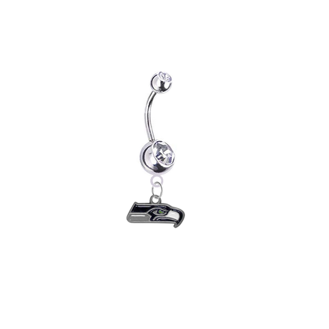 Seattle Seahawks Silver Clear Swarovski Belly Button Navel Ring - Customize Gem Colors