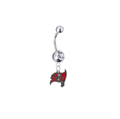 Tampa Bay Buccaneers Silver Swarovski Clear Belly Button Navel Ring - Customize Gem Colors