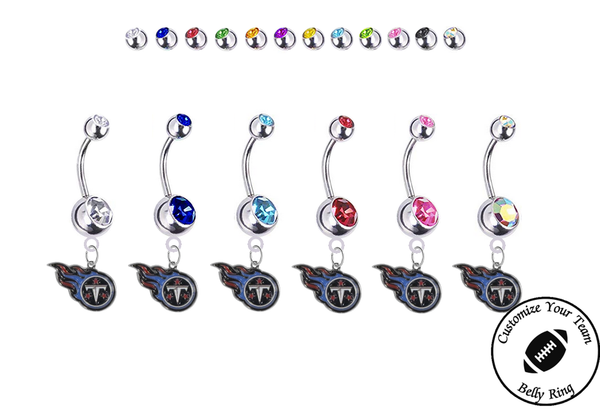Tennessee Titans Silver Swarovski Belly Button Navel Ring - Customize Gem Colors