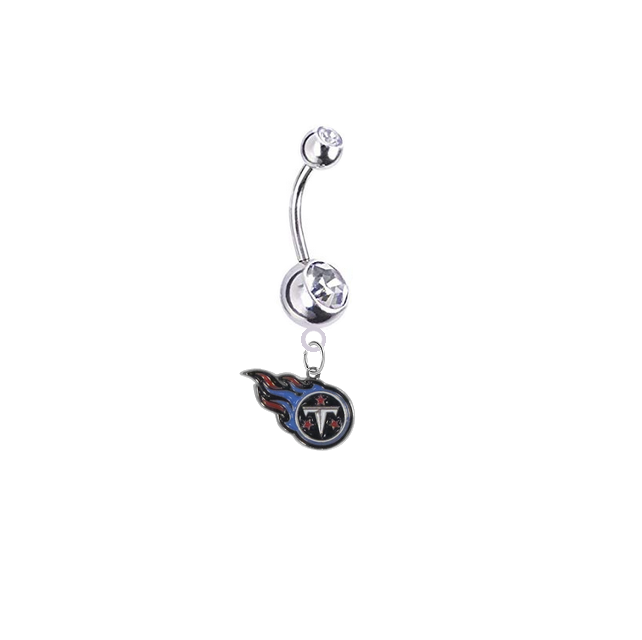Tennessee Titans Silver Clear Swarovski Belly Button Navel Ring - Customize Gem Colors