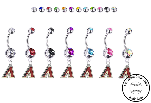 Arizona Diamondbacks Silver Swarovski Belly Button Navel Ring - Customize Gem Colors