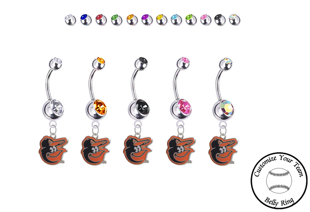 Baltimore Orioles Mascot Silver Swarovski Belly Button Navel Ring - Customize Gem Colors