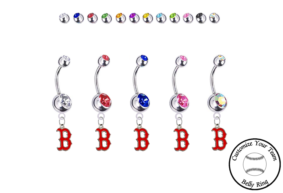 Boston Red Sox B Logo Silver Swarovski Belly Button Navel Ring - Customize Gem Colors