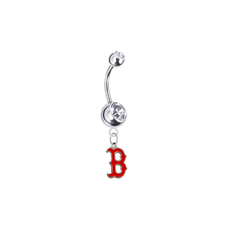 Boston Red Sox B Logo Silver Clear Swarovski Belly Button Navel Ring - Customize Gem Colors