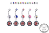 Chicago Cubs Silver Swarovski Belly Button Navel Ring - Customize Gem Colors