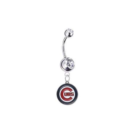 Chicago Cubs Silver Clear Swarovski Belly Button Navel Ring - Customize Gem Colors