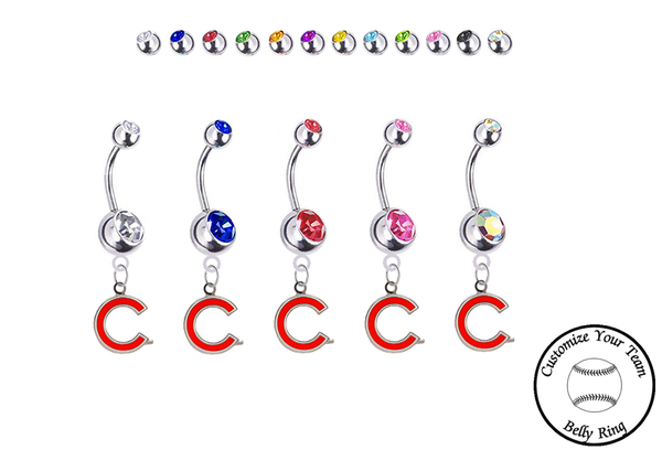 Chicago Cubs C Logo Silver Swarovski Belly Button Navel Ring - Customize Gem Colors