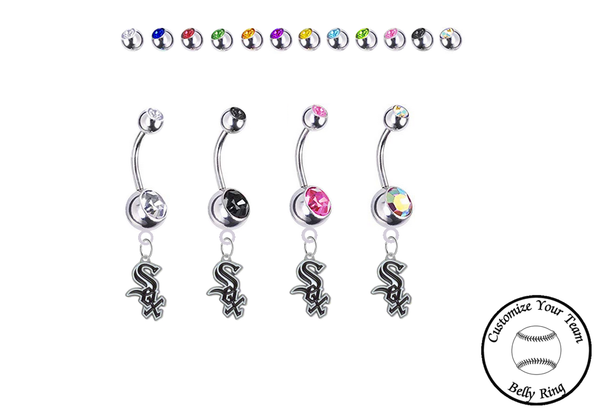 Chicago White Sox Silver Swarovski Belly Button Navel Ring - Customize Gem Colors