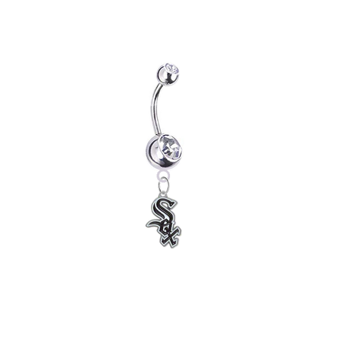 Chicago White Sox Silver Clear Swarovski Belly Button Navel Ring - Customize Gem Colors