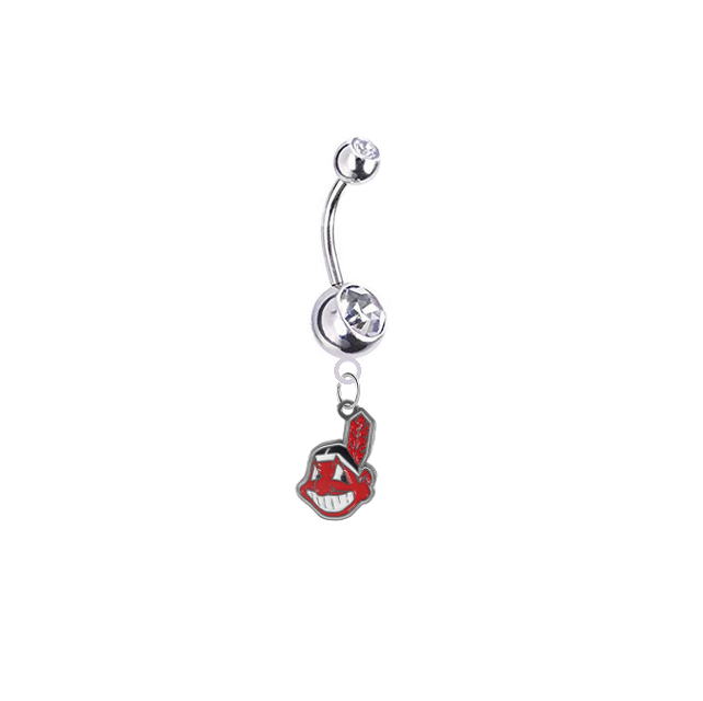 Cleveland Indians Silver Clear Swarovski Belly Button Navel Ring - Customize Gem Colors