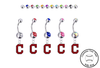 Cleveland Indians C Logo Silver Swarovski Belly Button Navel Ring - Customize Gem Colors