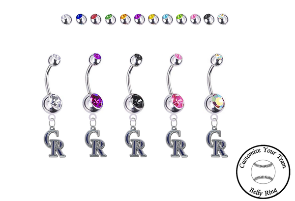 Colorado Rockies Silver Swarovski Belly Button Navel Ring - Customize Gem Colors