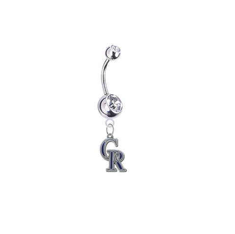 Colorado Rockies Silver Clear Swarovski Belly Button Navel Ring - Customize Gem Colors