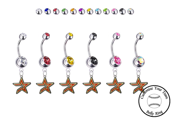 Houston Astros Silver Swarovski Belly Button Navel Ring - Customize Gem Colors