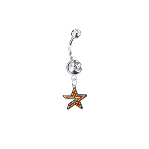 Houston Astros Silver Clear Swarovski Belly Button Navel Ring - Customize Gem Colors