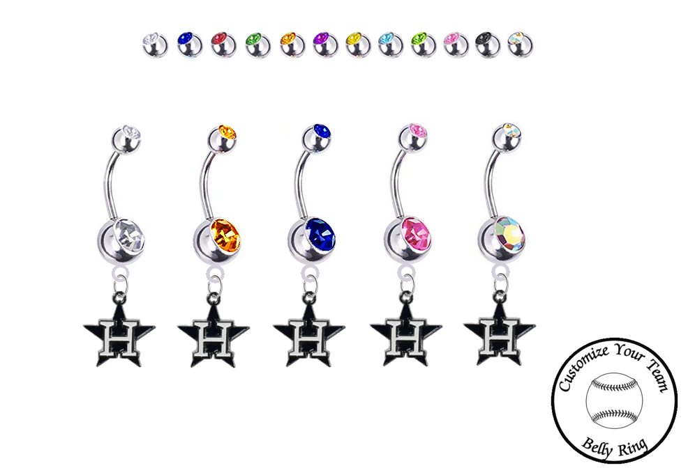Houston Astros Style 3 Silver Swarovski Belly Button Navel Ring - Customize Gem Colors