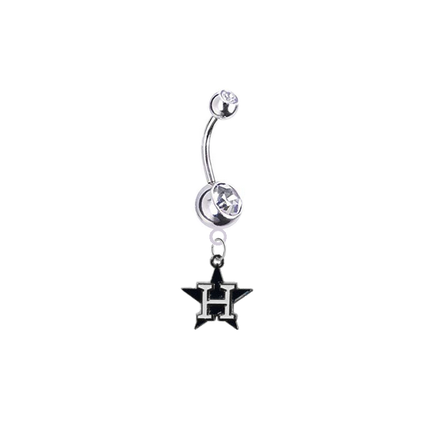 Houston Astros Style 3 Silver Clear Swarovski Belly Button Navel Ring - Customize Gem Colors