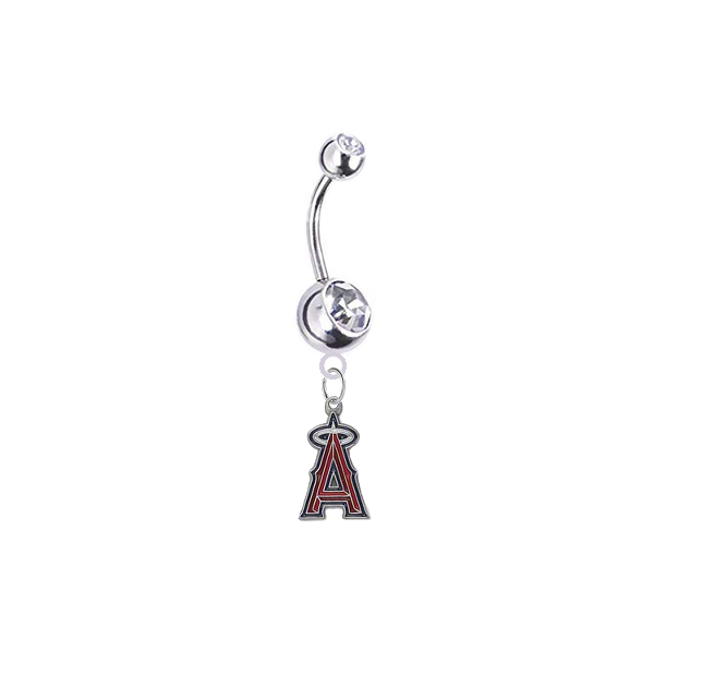Los Angeles Angels Silver Clear Swarovski Belly Button Navel Ring - Customize Gem Colors