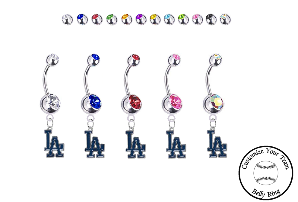 Los Angeles Dodgers Silver Swarovski Belly Button Navel Ring - Customize Gem Colors