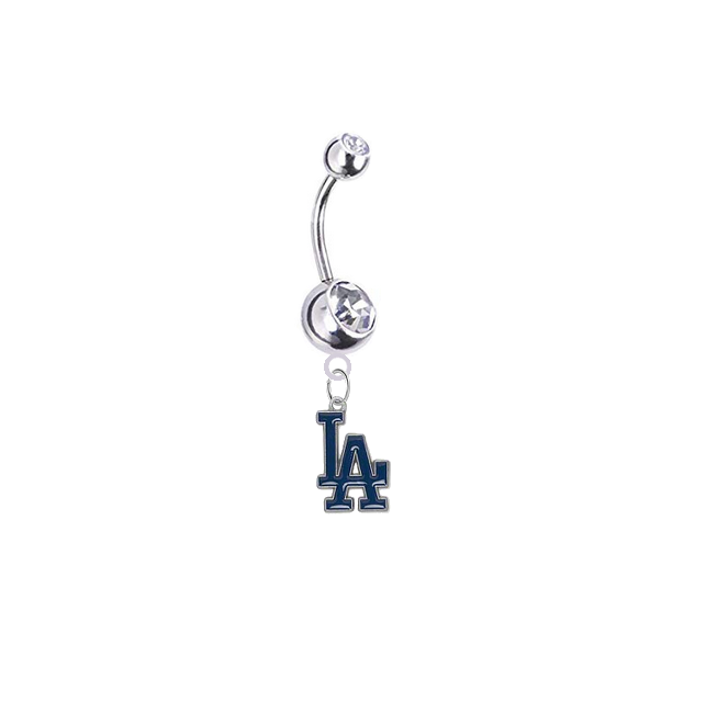 Los Angeles Dodgers Silver Clear Swarovski Belly Button Navel Ring - Customize Gem Colors