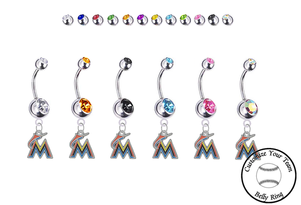 Miami Marlins Silver Swarovski Belly Button Navel Ring - Customize Gem Colors