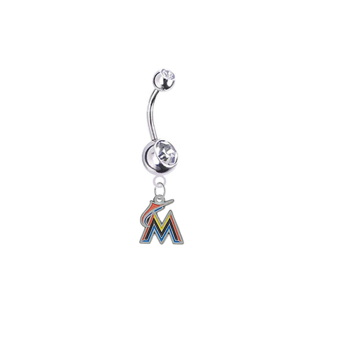 Miami Marlins Silver Clear Swarovski Belly Button Navel Ring - Customize Gem Colors