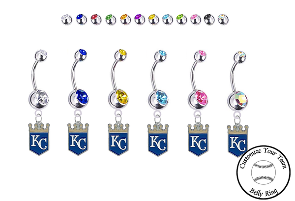 Kansas City Royals Silver Swarovski Belly Button Navel Ring - Customize Gem Colors