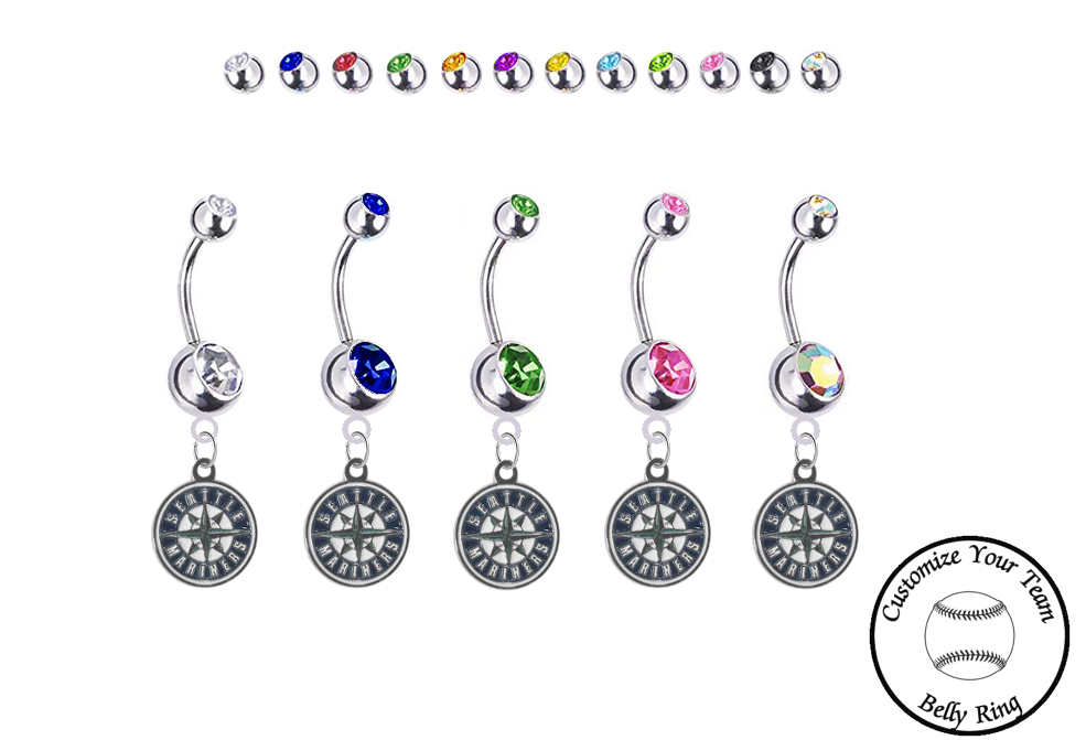 Seattle Mariners Silver Swarovski Belly Button Navel Ring - Customize Gem Colors