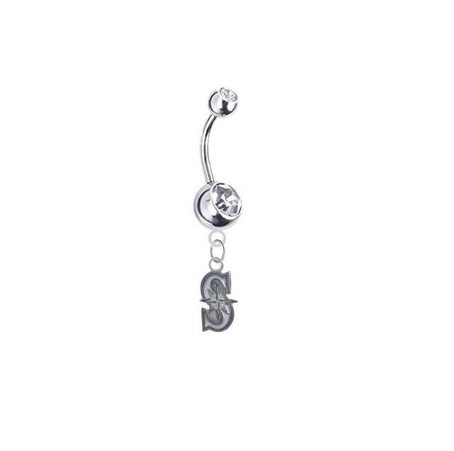 Seattle Mariners Style 2 Silver Clear Swarovski Belly Button Navel Ring - Customize Gem Colors