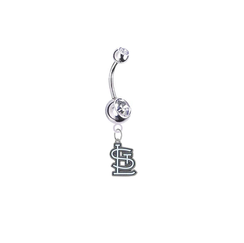 St Louis Cardinals Silver Clear Swarovski Belly Button Navel Ring - Customize Gem Colors
