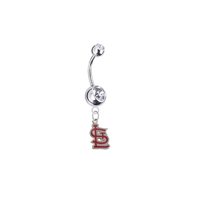 St Louis Cardinals Style 2 Silver Clear Swarovski Belly Button Navel Ring - Customize Gem Colors