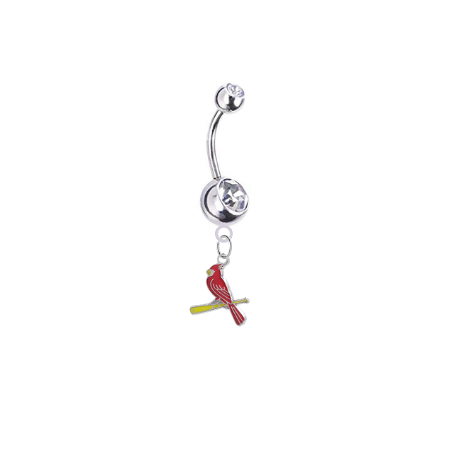St Louis Cardinals Style 3 Silver Clear Swarovski Belly Button Navel Ring - Customize Gem Colors