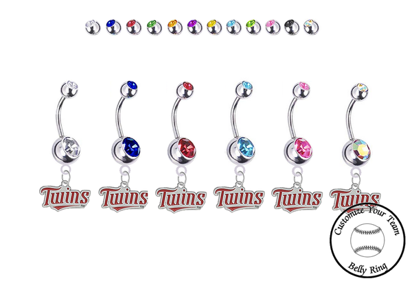 Minnesota Twins Silver Swarovski Belly Button Navel Ring - Customize Gem Colors