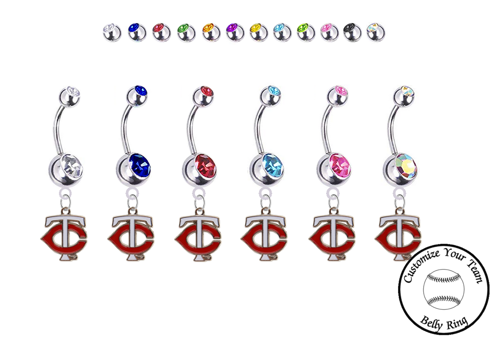 Minnesota Twins Style 2 Silver Swarovski Belly Button Navel Ring - Customize Gem Colors