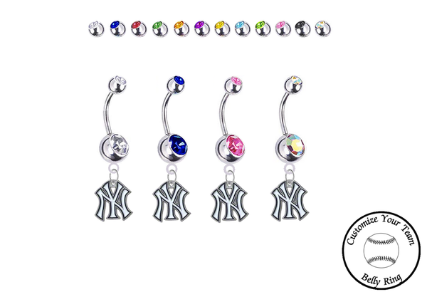 New York Yankees Silver Swarovski Belly Button Navel Ring - Customize Gem Colors