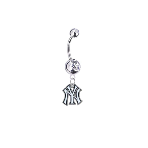 New York Yankees Silver Clear Swarovski Belly Button Navel Ring - Customize Gem Colors