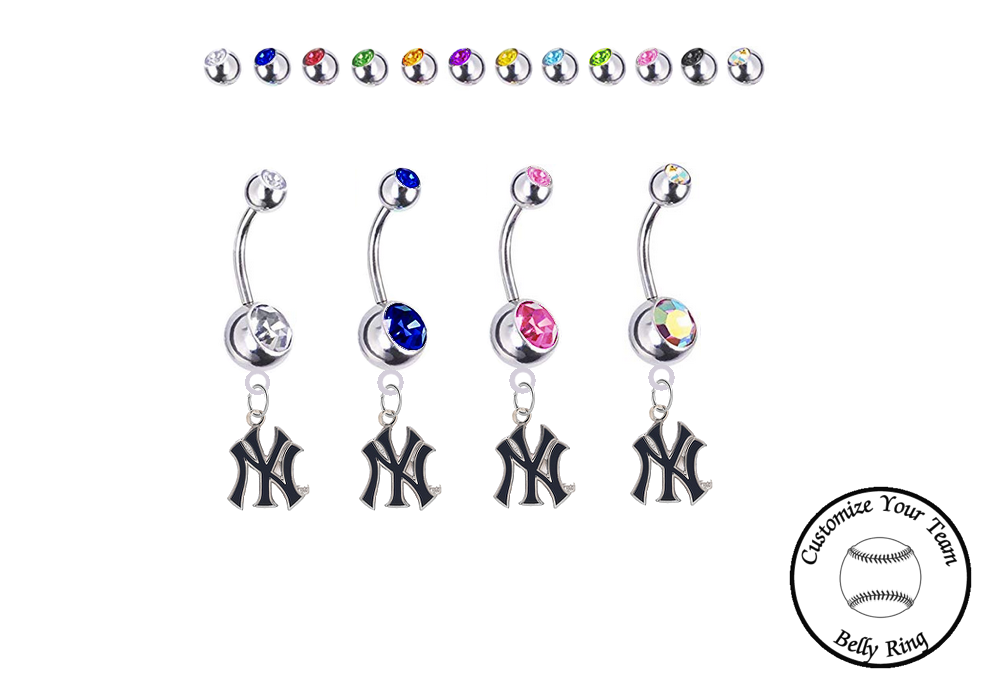 New York Yankees Style 2 Silver Swarovski Belly Button Navel Ring - Customize Gem Colors