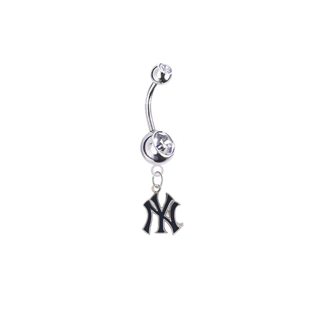 New York Yankees Style 2 Silver Clear Swarovski Belly Button Navel Ring - Customize Gem Colors