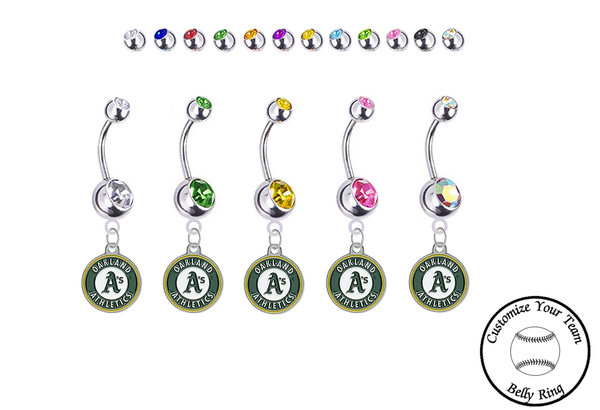 Oakland Athletics Silver Swarovski Belly Button Navel Ring - Customize Gem Colors