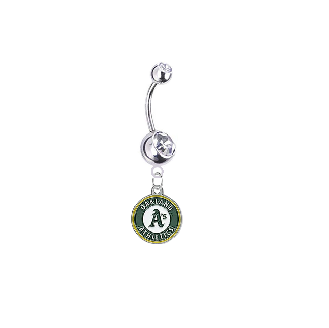 Oakland Athletics Silver Clear Swarovski Belly Button Navel Ring - Customize Gem Colors