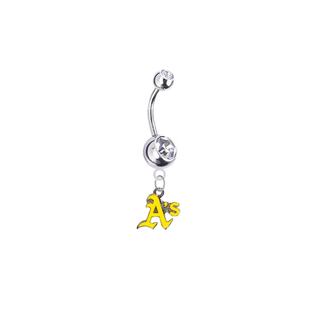 Oakland Athletics Style 2 Silver Clear Swarovski Belly Button Navel Ring - Customize Gem Colors