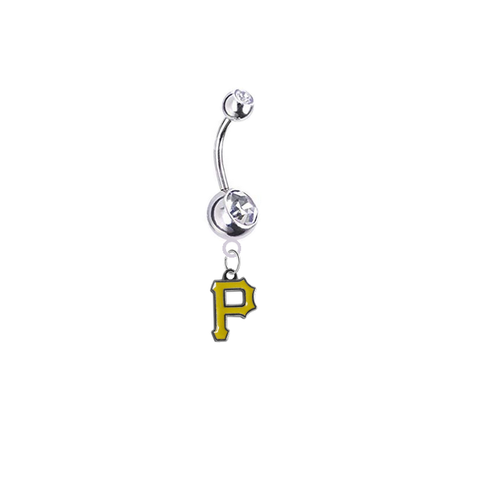 Pittsburgh Pirates Silver Clear Swarovski Belly Button Navel Ring - Customize Gem Colors