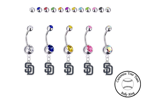 San Diego Padres Silver Swarovski Belly Button Navel Ring - Customize Gem Colors