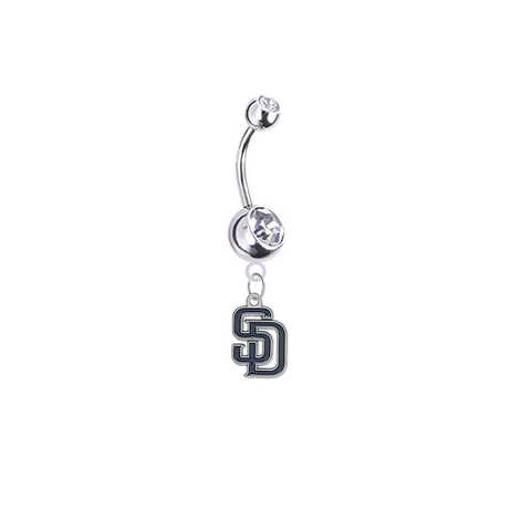 San Diego Padres Silver Clear Swarovski Belly Button Navel Ring - Customize Gem Colors