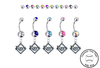 Tampa Bay Rays Silver Swarovski Belly Button Navel Ring - Customize Gem Colors