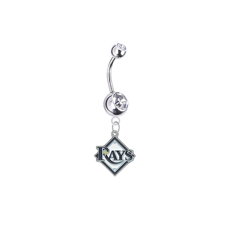 Tampa Bay Rays Silver Clear Swarovski Belly Button Navel Ring - Customize Gem Colors