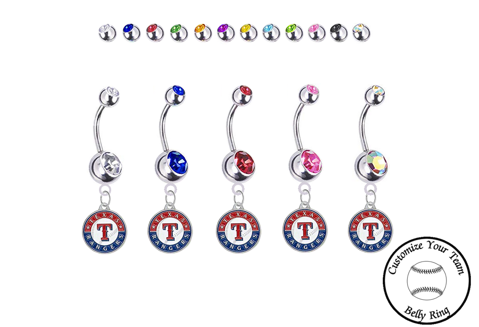 Texas Rangers Silver Swarovski Belly Button Navel Ring - Customize Gem Colors