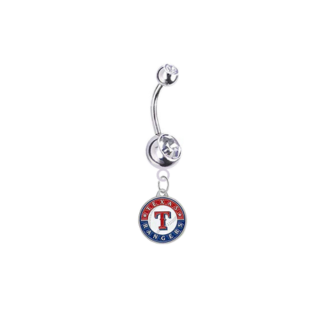 Texas Rangers Silver Clear Swarovski Belly Button Navel Ring - Customize Gem Colors